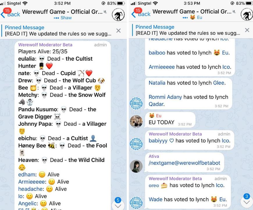 telegram werewolf - Free online games