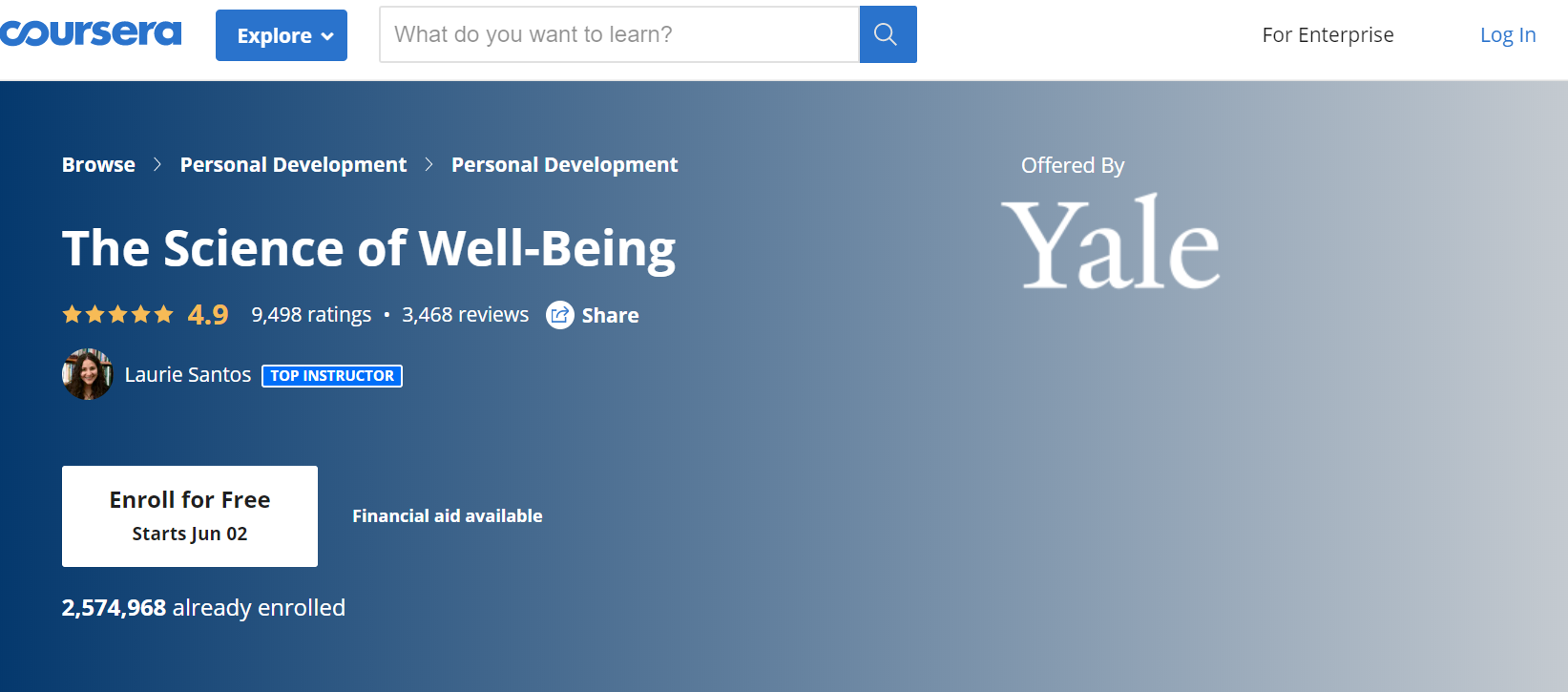 Yale's The Science of Well-Being in Coursera